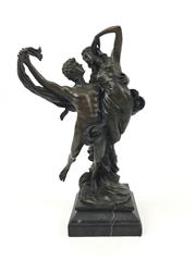 Sale 8545N - Lot 263 - Bronze Statue of Lovers on a Marble Base (H: 28cm)