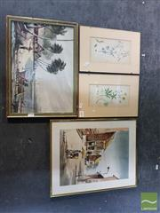 Sale 8552 - Lot 2096 - 2 Indonesian Watercolours with 2 Prints (4)
