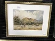 Sale 8990 - Lot 2016 - David Law Haymakers watercolour 29.5 x 36.5 cm (frame) signed