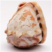 Sale 9044 - Lot 32 - A Cameo Shell Lamp Shade Featuring the Victory on A Horse Drawn Chariot (L11.5cm)