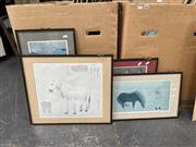 Sale 9061 - Lot 2063 - A collection of 4 Chinese decorative prints including Prized Steed by Lanh Shih-ning; various sizes.