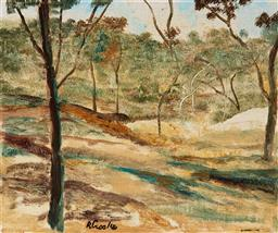 Sale 9123J - Lot 113 - Ray Crooke (1922 - 2015) Landscape, Nth Qld oil on canvas on board 25 x 30 cm (frame: 45 x 50 x 3 cm) signed lower left