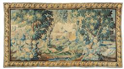 Sale 9130H - Lot 3 - A large late 17th century wool and silk Aubusson tapestry depicting a pastoral scene with acanthus floral border, and ring hanging s...
