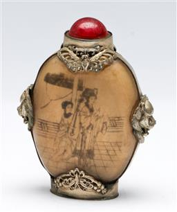 Sale 9168 - Lot 413 - A silver-plated mounted Chinese snuff bottle (H:9cm)