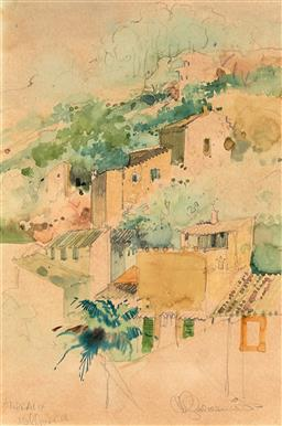 Sale 9256A - Lot 5162 - HELEN GOLDSMITH (1937 - ) Afternoon Light on Andratx Township, Mallorca watercolour 24 x 16.5 cm (frame: 31 x 40 x 2 cm) signed lowe...