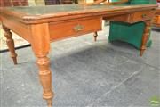 Sale 8255 - Lot 1093 - Late Victorian Walnut Desk, with tooled green leather top, two drawers & on turned legs