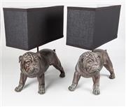 Sale 8342A - Lot 316 - A pair of composite form bronze finish English bulldog themed bedside lights with rectangular form shades, W 37cm