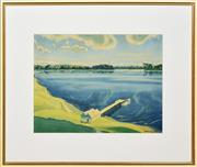 Sale 8358 - Lot 575 - Kenneth MacQueen (1897 - 1960) - Distant View of the Jetty 36 x 46.5cm