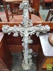 Sale 8416 - Lot 1052 - Cast Iron Crucifix, with climbing roses & convolvulus