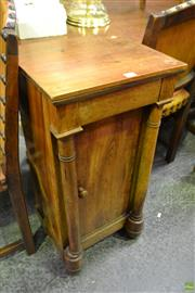 Sale 8559 - Lot 1097 - 19th Century French Mahogany Bedside Cabinet, with a drawer, a door & two columns, with later pine top