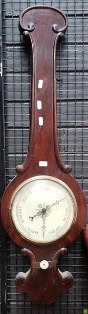 Sale 8617 - Lot 1090 - William IV Rosewood Banjo Shaped Barometer, with carved scroll frame