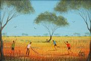Sale 8665 - Lot 504 - Kym Hart (1965 - ) - Outback Cricket 11.5 x 16.5cm