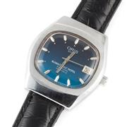 Sale 8857 - Lot 453 - A VINTAGE ORIS STAR AUTOMATIC WRISTWATCH; ref. 6793 in stainless steel with blue cushion form dial, applied markers, center seconds,...