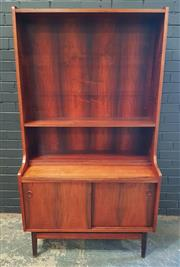 Sale 8984 - Lot 1059 - Vintage Rosewood  Bookcase with Two Door Cabinet Base (H:183 x W:100 x D:43cm)