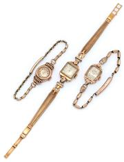 Sale 9046 - Lot 347 - THREE VINTAGE 9CT GOLD LADY'S WRISTWATCHES; Timor, Datum and Relide, all manual movements on gold plated bands, none working.