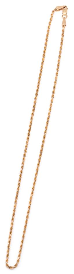 Sale 9132 - Lot 316 - A 14CT GOLD ROPE TWIST CHAIN; 1.4mm wide chain to parrot clasp with Italian hallmarks, length 41cm, 5.57g.