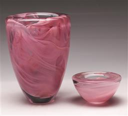 Sale 9119 - Lot 127 - A Kosta Boda pink swirl vase H:20cm together with A matched candle holder