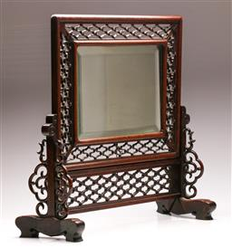 Sale 9122 - Lot 217 - Chinese Rosewood Dresser Mirror with Pierced Frame L:57cm H:47cm