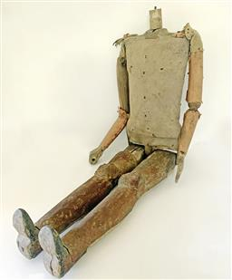 Sale 9142A - Lot 5050 - French articulated Puppet c1780 - Warrior: timber with stuffed cloth body, tin leg armour and strap metal joints, 105 x 35 x 10cm....