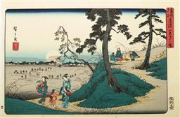 Sale 9168 - Lot 495 - Hiroshige marked Japanese Woodblock print of Dokan Hill cricket listening, from the Toto Meisho series, 38.5cm x 26cm