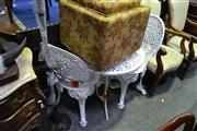 Sale 8035 - Lot 1051 - White Garden Setting incl. Table & 2 Chairs
