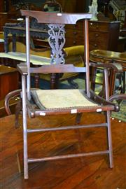 Sale 8093 - Lot 1834 - Antique Folding Chair with Tapestry Seat and Fretted Back Splat