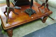 Sale 8129 - Lot 1056 - Timber coffee Table On Turned Legs