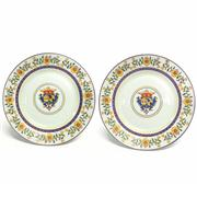 Sale 8292 - Lot 89 - Famille Rose Export Plates Pair of Family Symbol Plates