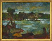 Sale 8325A - Lot 48 - Edward Hall (1930 - ) - Across the River, 1963 42.5 x 54.5cm