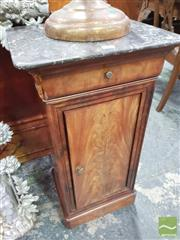 Sale 8416 - Lot 1053 - 19th Century French Mahogany Beside Cabinet, with marble top, a drawer & panel door