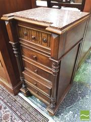 Sale 8428 - Lot 1052 - Early 20th Century French Walnut Bedside Cabinet, with marble top, three drawers & a door modelled as drawers