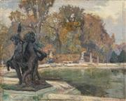 Sale 8513A - Lot 5049 - Attributed to Emanuel Phillips Fox (1865 - 1915) - Sculpture Gardens 32.5 x 41cm