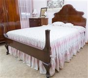 Sale 8515A - Lot 60 - A cedar double bed with shaped headboard with swan neck bed ends, W 140 x L 210cm