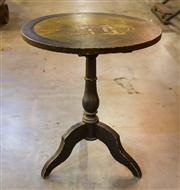 Sale 8516A - Lot 22 - An early ebonised tilt top table, possibly Georgian, 19th Century, featuring detailed hand finished painted scene, showcasing mother...