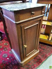 Sale 8562 - Lot 1057 - 19th Century French Oak Bedside Cabinet, with mottled grey marble top, having a drawer & panel door (marble repaired)