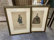 Sale 8898 - Lot 2037 - Pair of Antique hand-coloured Engravings Full Drefs of a Lady of Nuremberg from Muller & Habit of a Country Man near Nuremberg