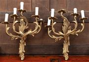 Sale 8942H - Lot 42 - A pair of brass rococo style five light wall sconces, Height approx. 43cm