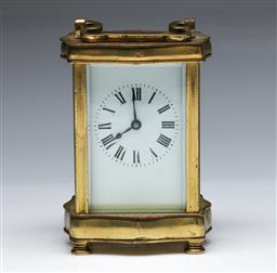 Sale 9093 - Lot 38 - A French Brass Cased Carriage Clock (H13cm)