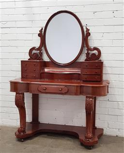 Sale 9097 - Lot 1086 - Victorian Mahogany Dressing Table, with seven drawers & lift-top compartment, raised on cabriole legs  (h152 x w151 x d54cm)