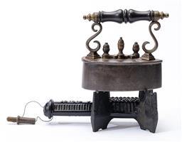 Sale 9130E - Lot 95 - A portable cast metal J Wright & Co. Birmingham burner, Length 22cm, together with a small vintage iron