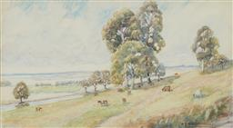 Sale 9170 - Lot 575 - ALFRED ERNEST MACDONALD (1868 - 1954) Grazing Cattle & Open Valley, Canberra, 1941 watercolour 28 x 51 cm (frame: 59 x 79 x 3 cm) si...