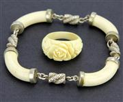 Sale 8123 - Lot 28 - Ivory Carved & Silver Vintage Bangle with an Ivory Ring