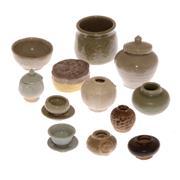 Sale 8132B - Lot 489 - Group of earthernware miniature vases and covered boxes