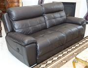 Sale 8338A - Lot 21 - A three piece dark chocolate brown leather three piece suite, comprising of a three seater and two armchairs
