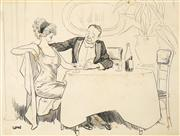Sale 8513A - Lot 5069 - David Low (2 works) (1892 - 1963) - Untitled (Courting) ; Save them the Trouble ... 23.5 x 30cm; 38 x 26cm