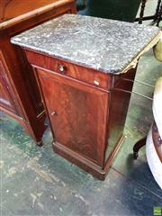 Sale 8559 - Lot 1095 - 19th Century French Mahogany Bedside Cabinet, with mottled grey marble top, having a drawer & panel door (marble top repaired)