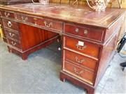 Sale 8740 - Lot 1371 - Mahogany Twin Pedestal Desk with 8 Drawers -