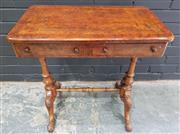 Sale 8993 - Lot 1018 - Victorian Burr Walnut Side Table, fitted with two drawers, on turned end supports joined by a stretcher (some faults to top - H: 66...