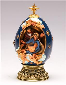 Sale 9107 - Lot 79 - A Faberge style Christmas egg (H 11cm)