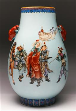 Sale 9122 - Lot 164 - A Deer Handled Chinese Vase Featuring Warriors and Deer Handles (H: 40cm)
